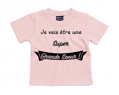 T-shirt bébé Je vais être une Super Grande Sœur