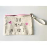 Pochette zip rose élue maman de lannée