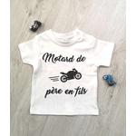 T-shirt bébé motard de père en fils blanc