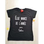 T-shirt noir élue mamie de lannée par