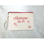 Pochette coton personnalisé Marraine en Or