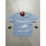 T-shirt bébé personnalisé Motard de père en fils