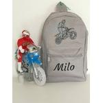 Mini sac à dos moto personnalisé avec prénom