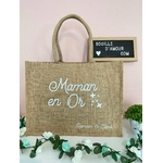 sac shopping maman en or personnalisé avec prénom