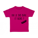 tshirt-enfant-rose-oui-je-suis-beau
