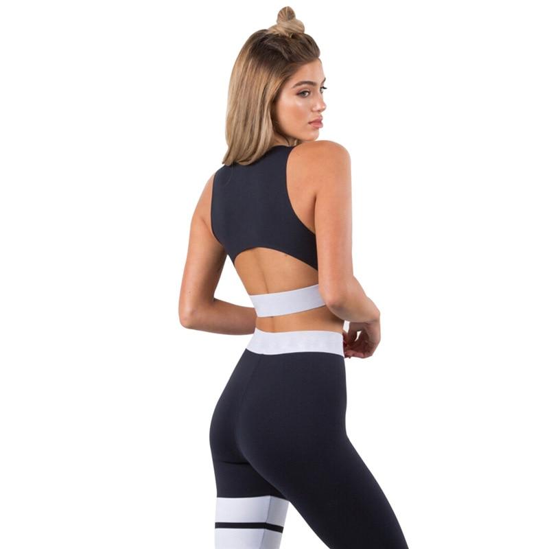 Femmes-Surv-tement-Solide-De-Yoga-Ensemble-Patchwork-Running-Fitness-Jogging-T-shirt-Leggings-Sport-Costume