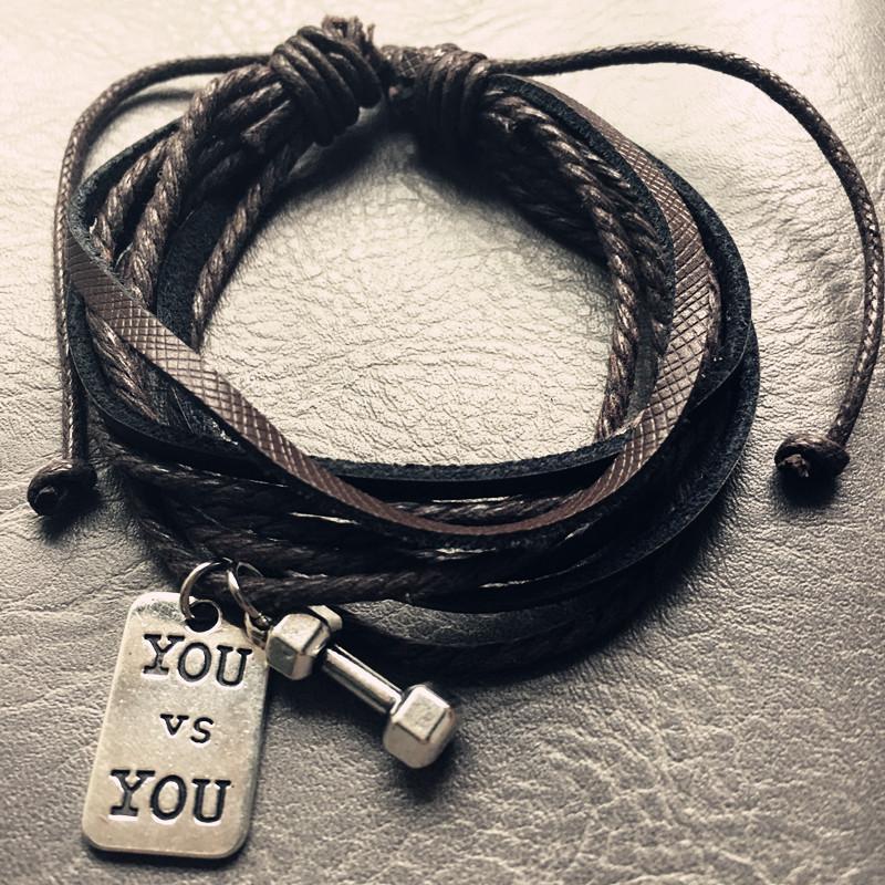 Noir-En-Cuir-Tag-Bracelet-pour-Hommes-Halt-re-Charme-Bracelet-M-le-Gym-Fitness-Bijoux