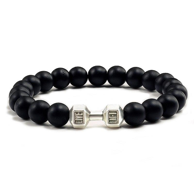 Bracelet haltère perles2