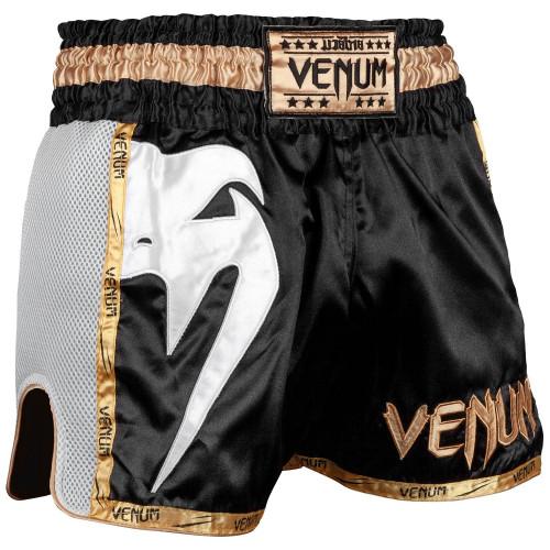 Short Venum Giant Muay Thai Or et Blanc sur Noir