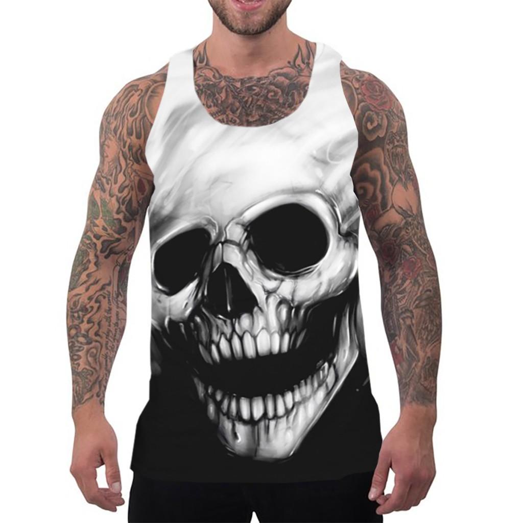 Débardeur skull black and white