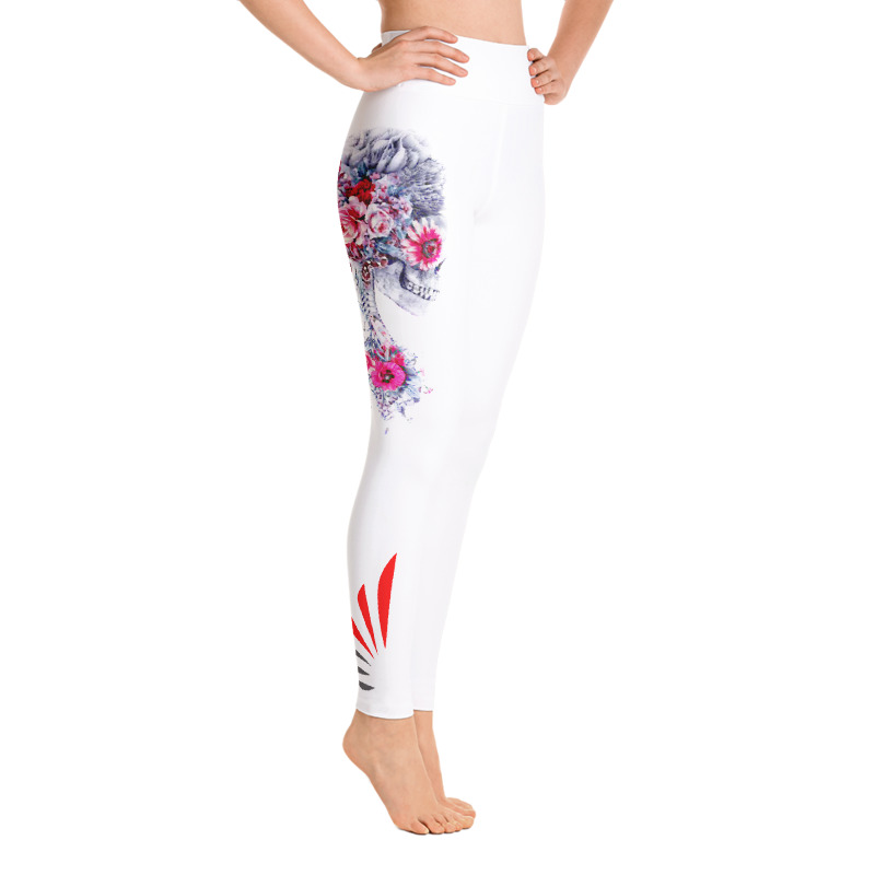 Leggings Flower Skull Blanc ou Noir