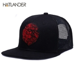 HATLANDER-Original-black-baseball-caps-for-boys-girls-summer-sun-hats-embroidery-lion-mesh-snapbacks