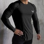 Nouveau-T-Shirt-manches-longues-Sport-hommes-Gym-chemise-s-chage-rapide-Gym-Fitness-entra-nement