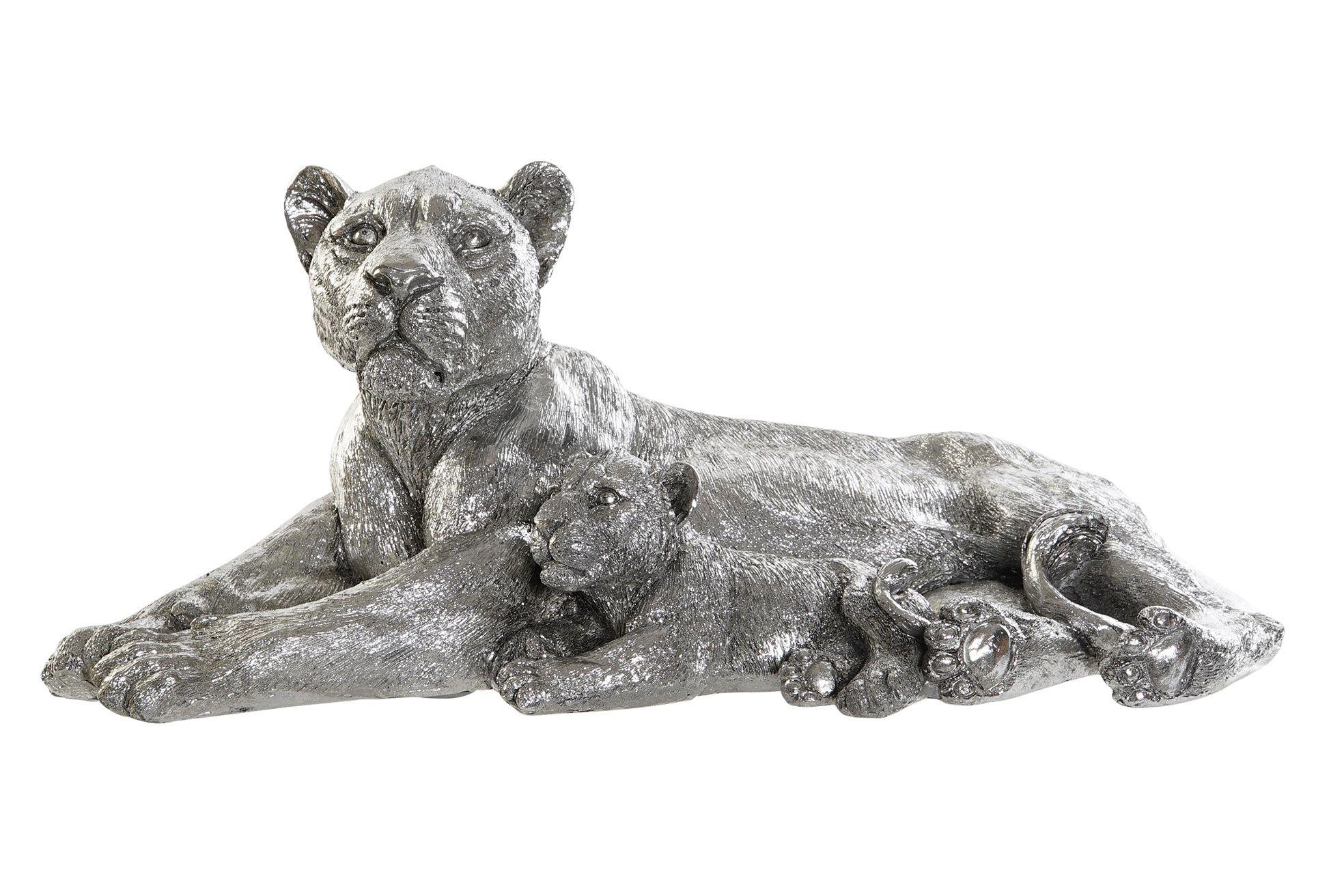 Statue Lionne Chrome