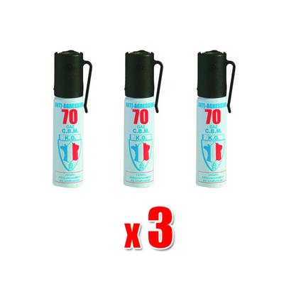 Lot de 3 Bombes lacrymogènes 25 ml Gaz, Gel ou Gel poivre
