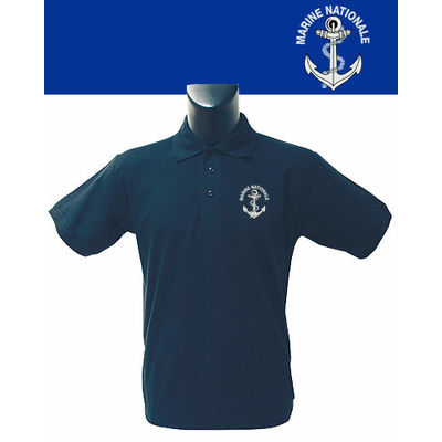 Polo Bleu sérigraphié Marine Nationale