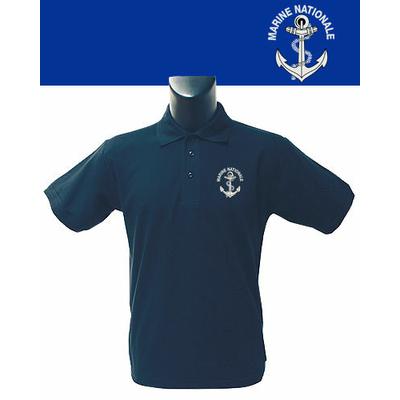 Polo Bleu sérigraphié Marine Nationale