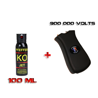 Shocker électrique 900 000 Volts rechargeable + Aérosol Lacrymogène 100 ml Gel Poivre