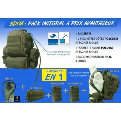 Pack sac à dos tactical avec pochettes et réservoir 3 L