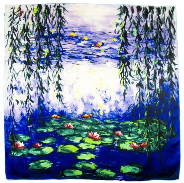 Foulard en soie carré artysilk nymphéas et saules Claude Monet