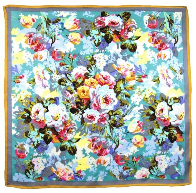 Foulard en soie satin vert roses premium 90 x 90 cm