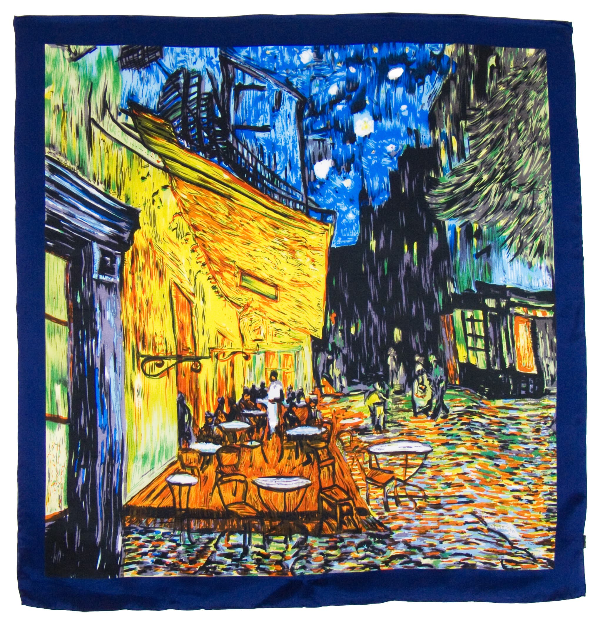 Foulard en soie carré artysilk terrasse de café Van Gogh