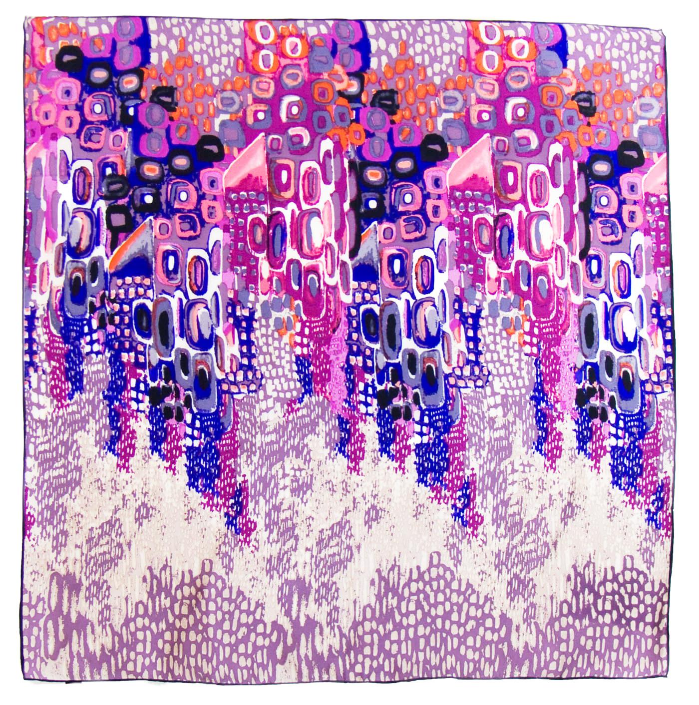 Foulard en soie satin violet colorima premium 90 x 90 cm