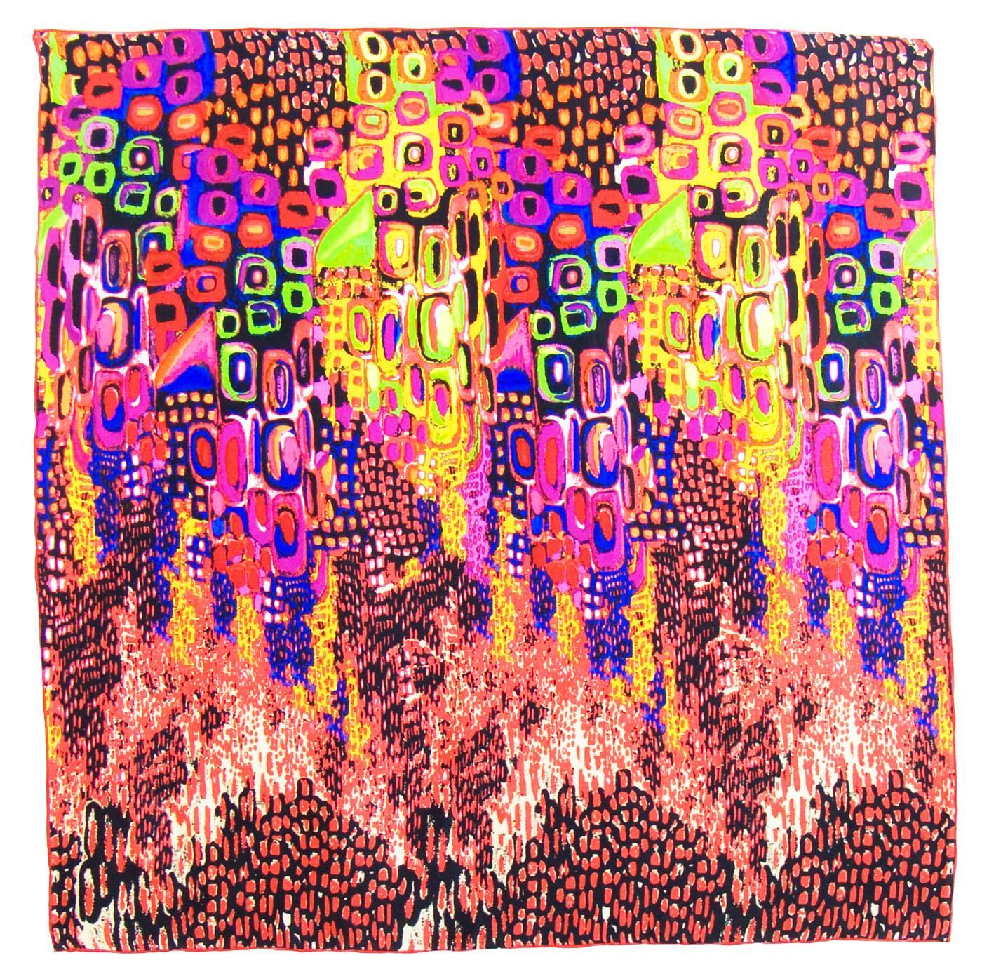 Foulard en soie satin corail colorima premium 90 x 90 cm