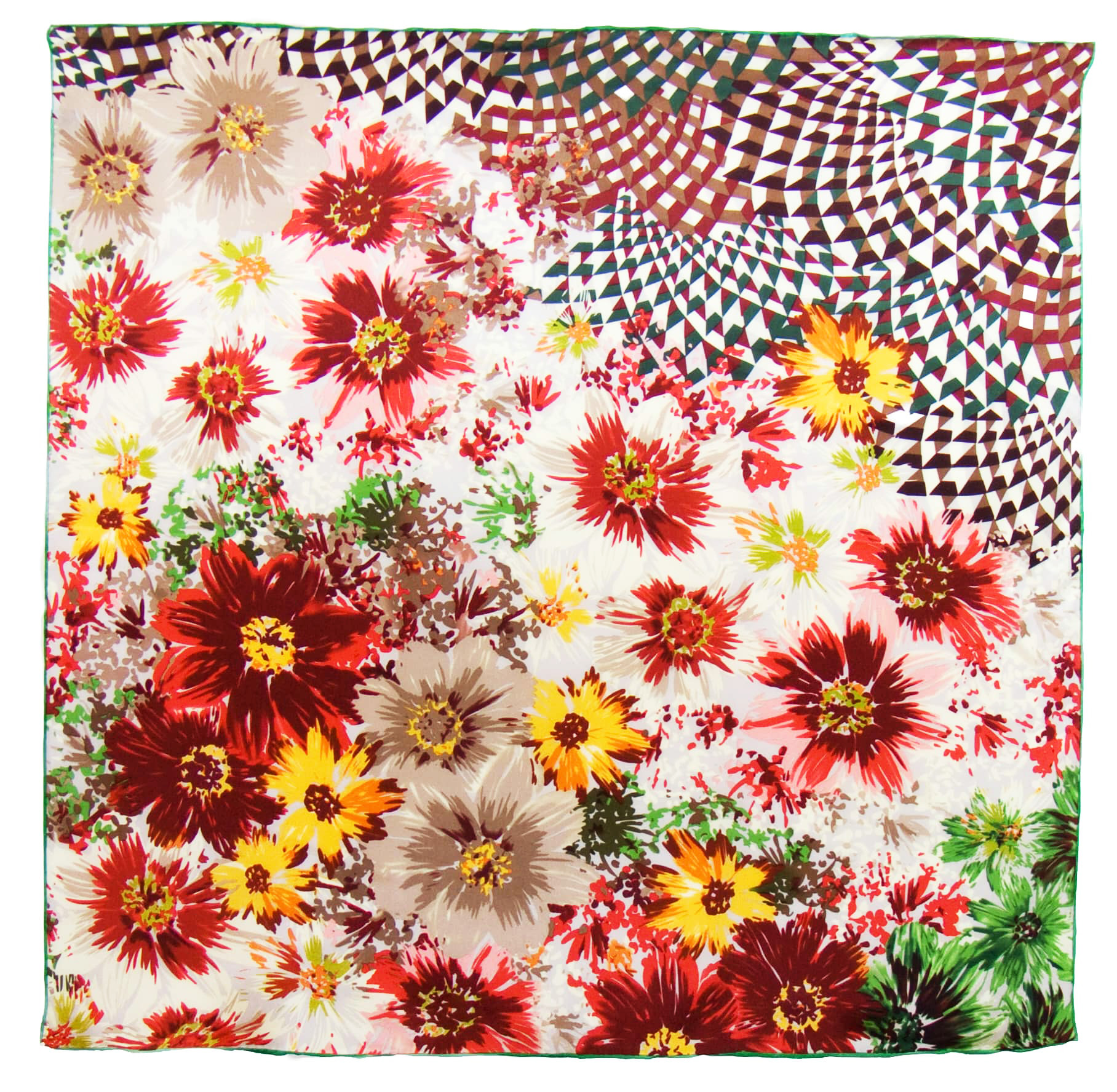 Foulard en soie satin orange bouquet premium 90 x 90 cm