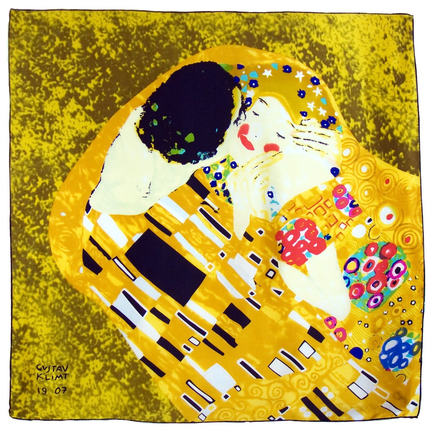 Carré de soie artysilk Gustave Klimt Le baiser détail