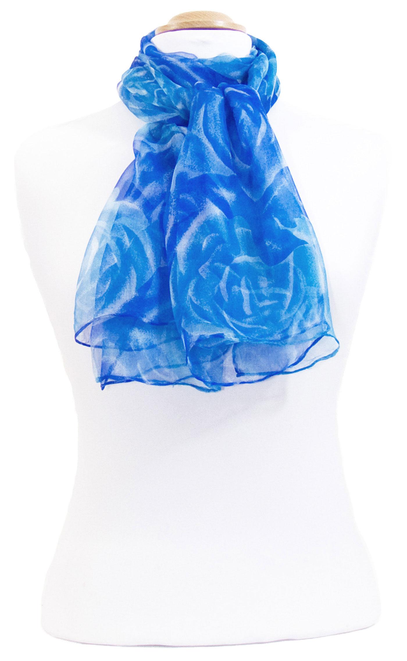 a5c689bb6a5c Foulard mousseline de soie bleu Rosa - Matière Foulard mousseline de soie -  Mes Echarpes