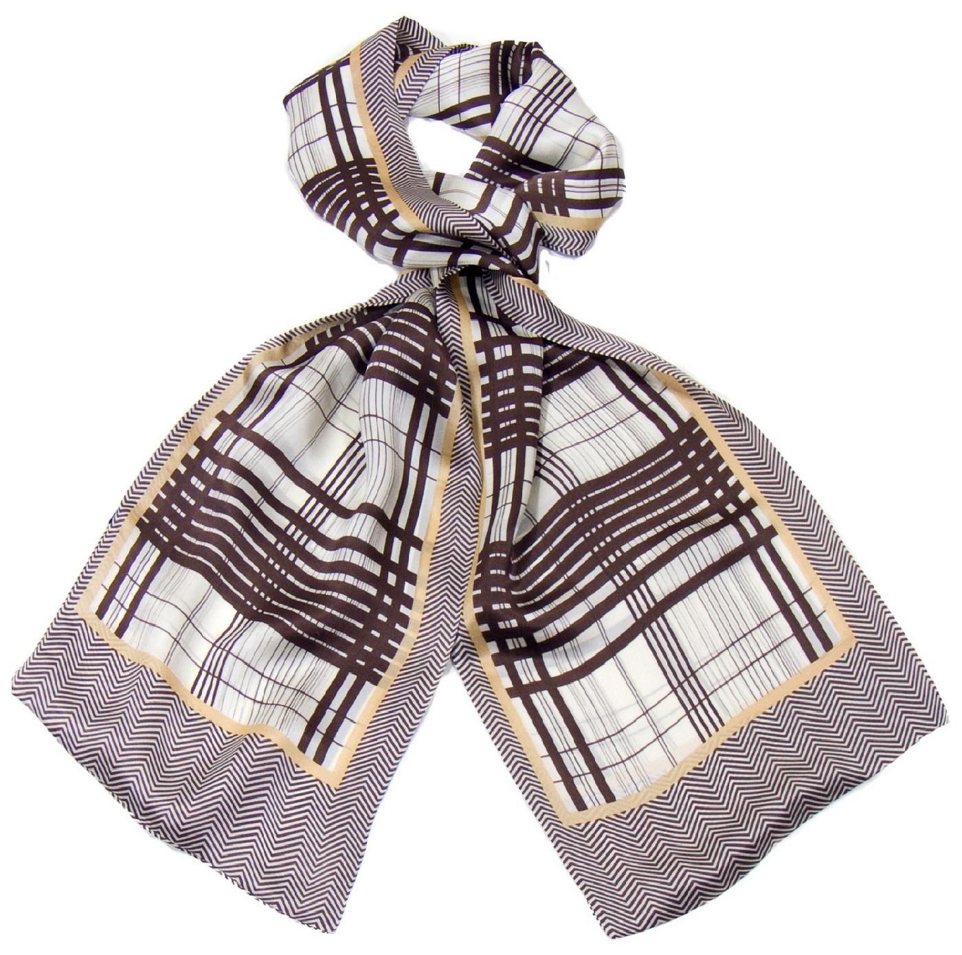 foulard soie homme rayures chocolat 1