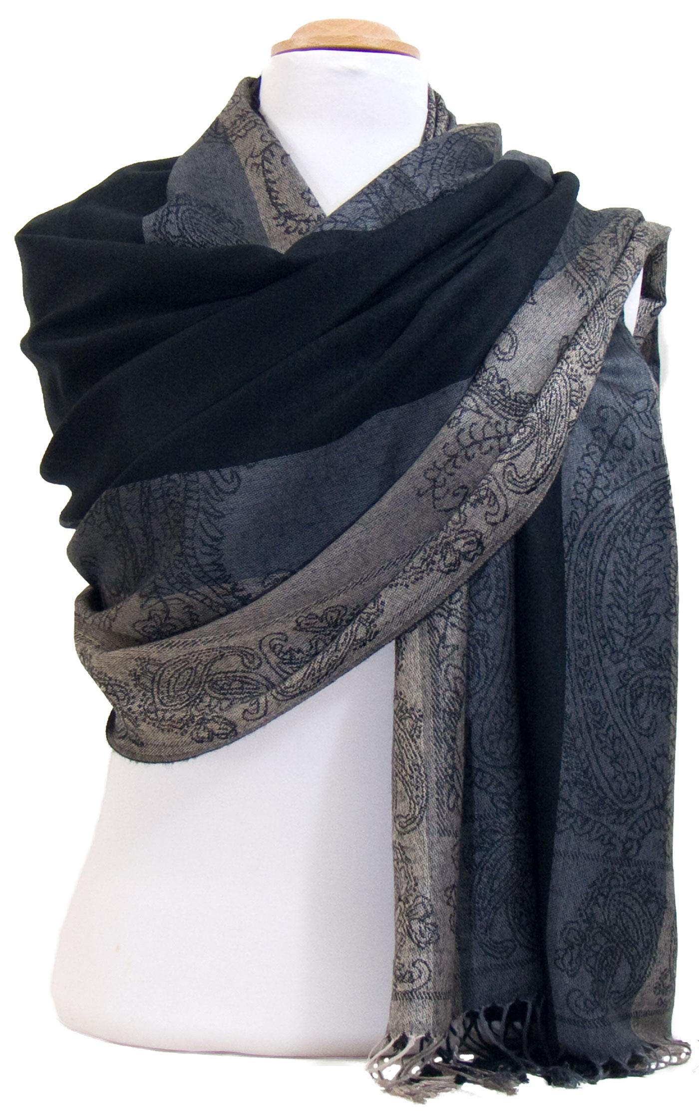 Etole pashmina noir gris rayures motifs cachemire