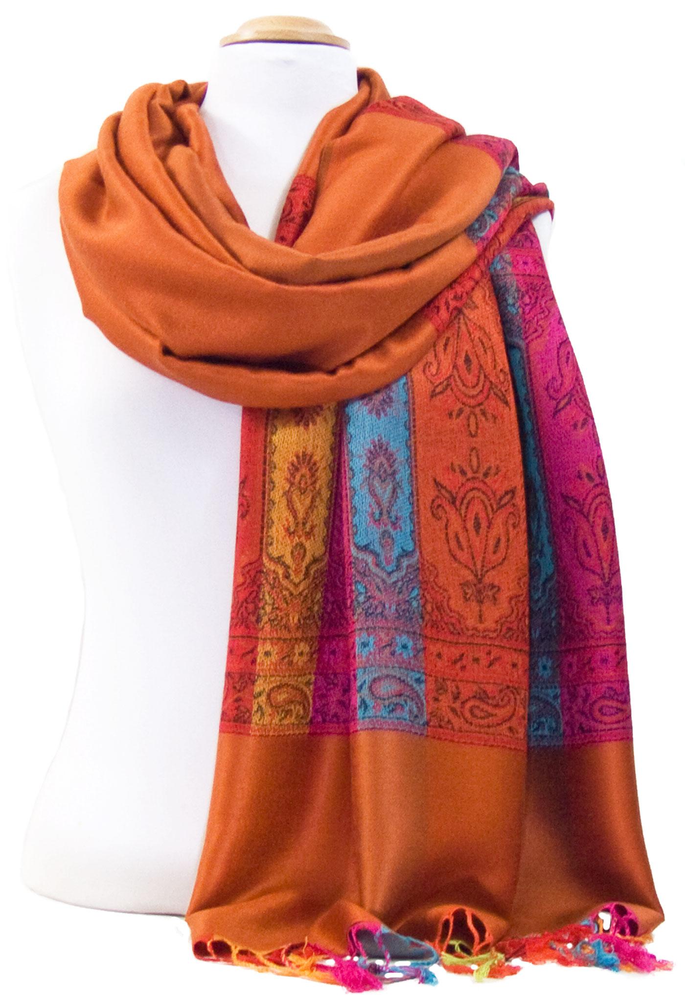 Etole pashmina brique tissée motifs multicolores