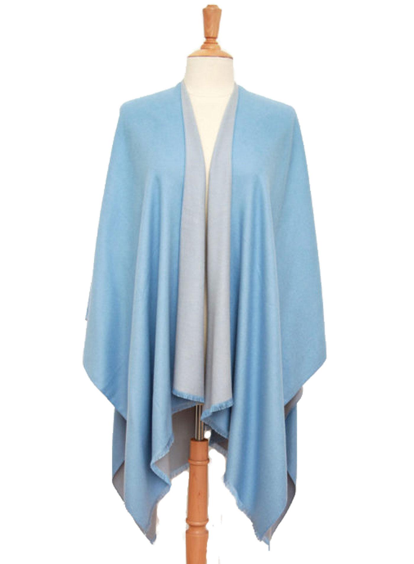 Poncho bleu gris réversible