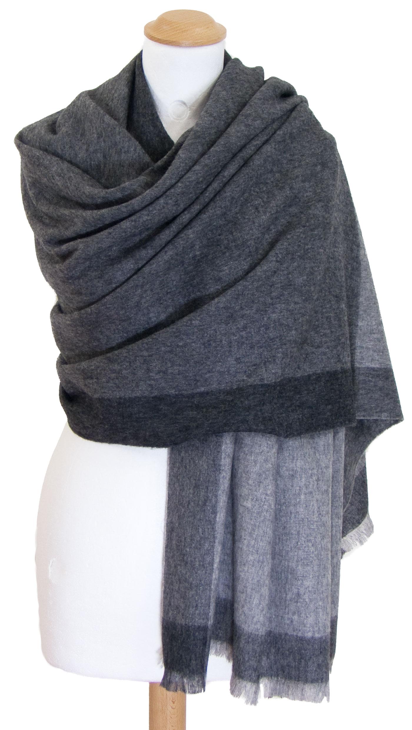 Etole gris cachemire laine carreaux Célia