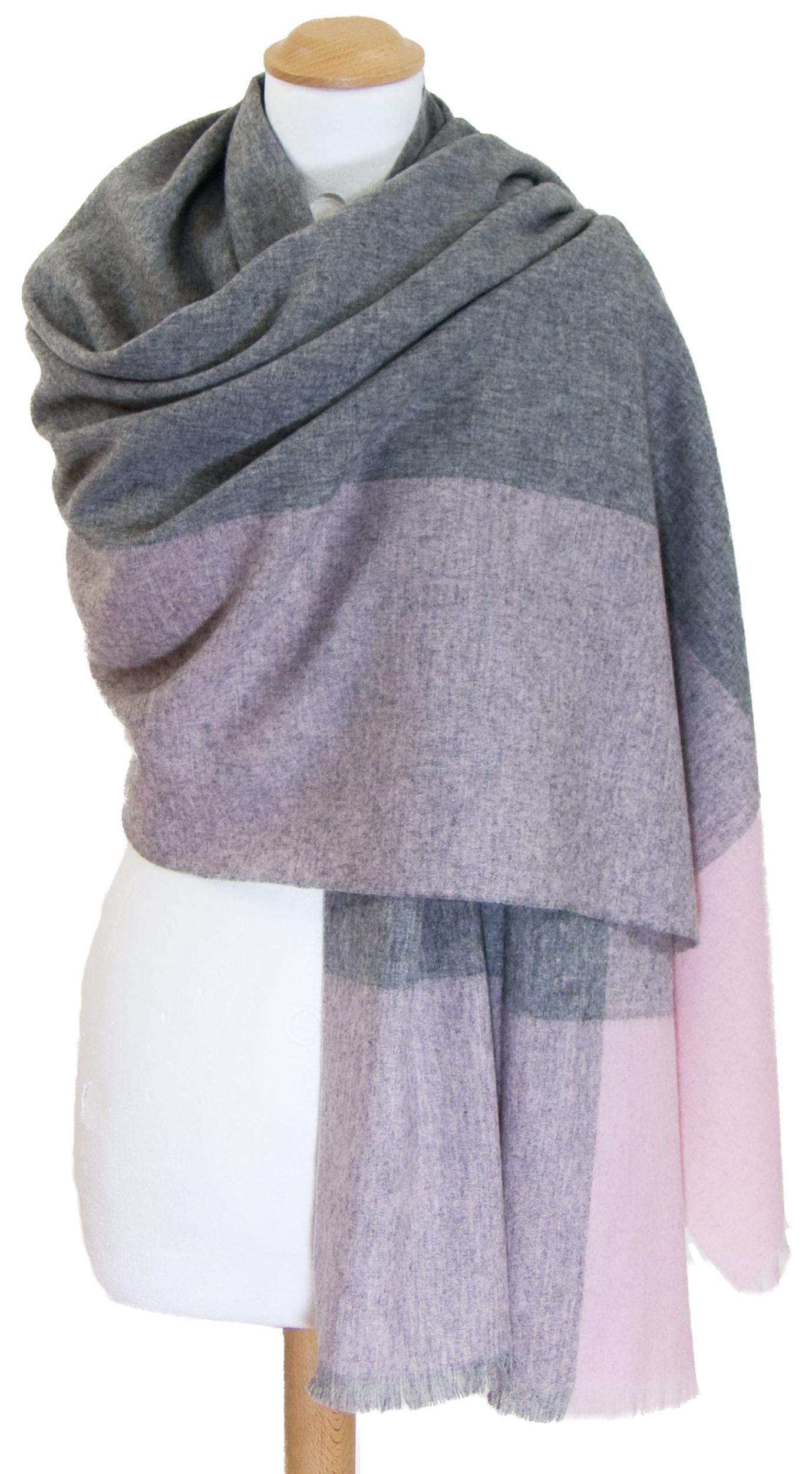 Etole rose cachemire laine carreaux Célia