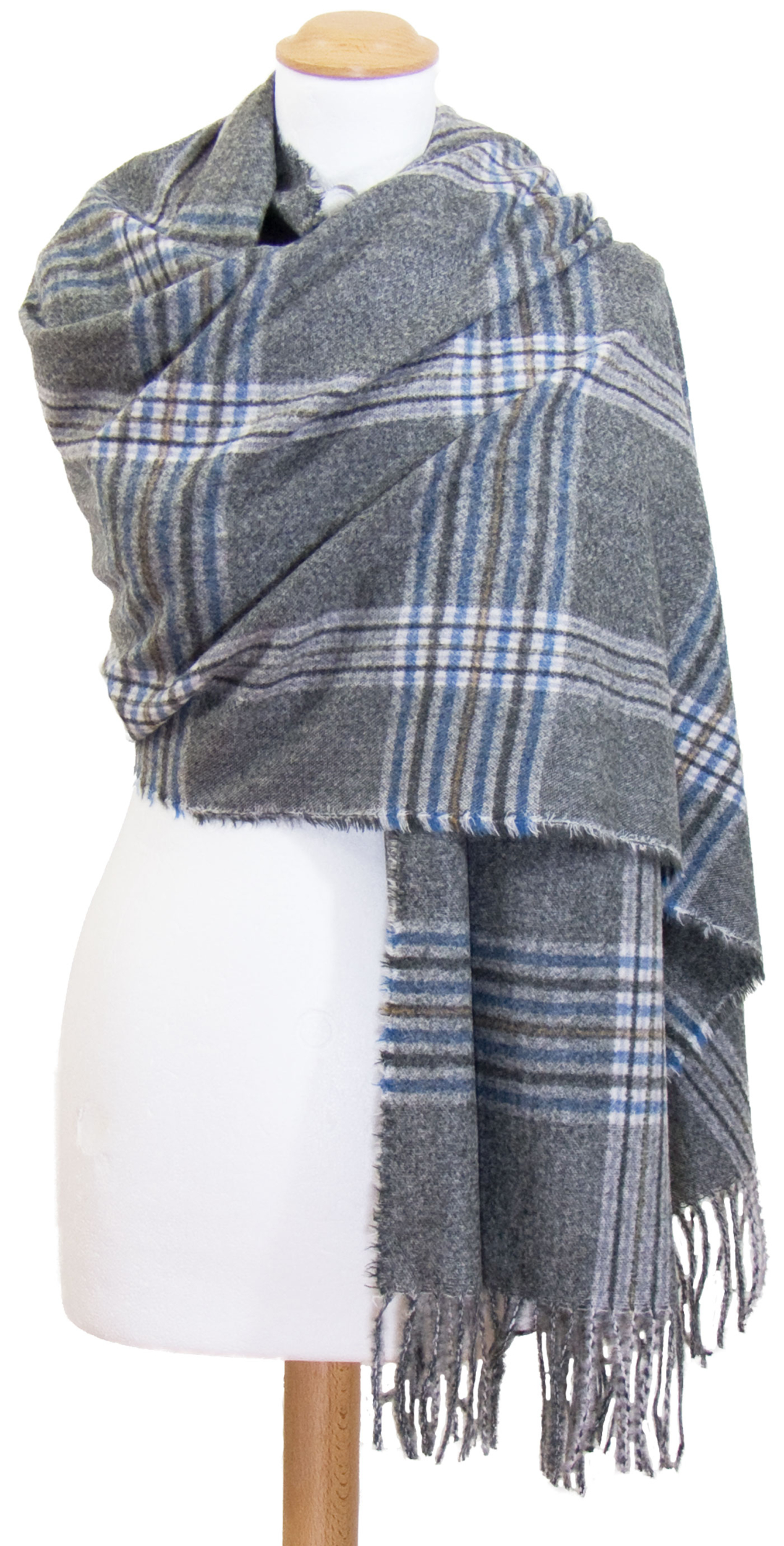 Châle laine gris bleu tartan Kessy