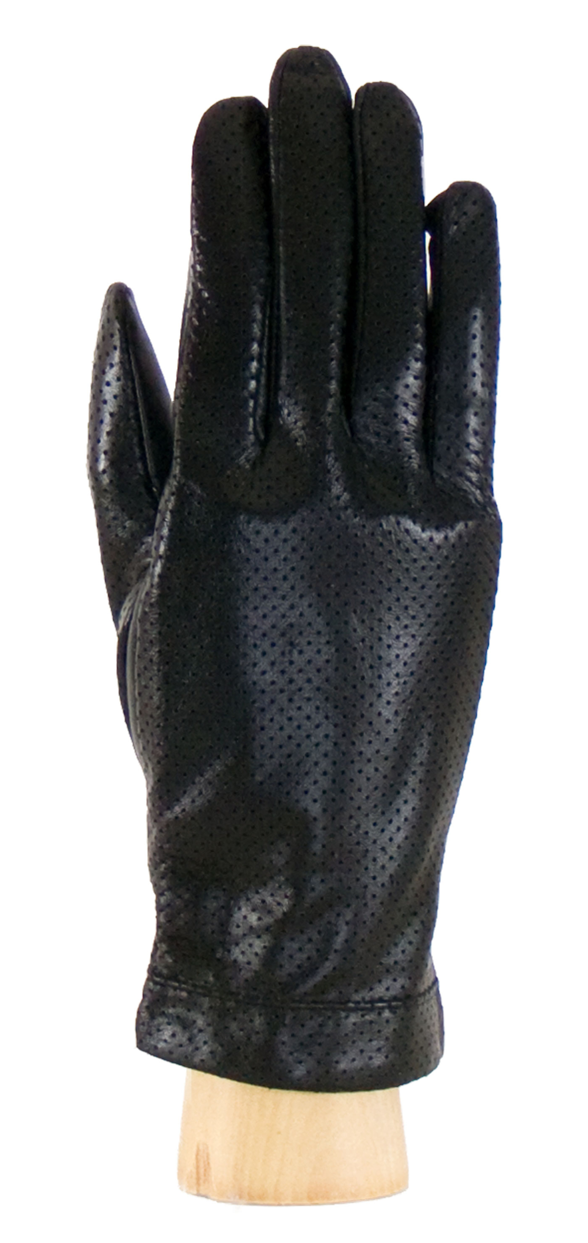 Gants cuir perforé noir femme taille 7.5