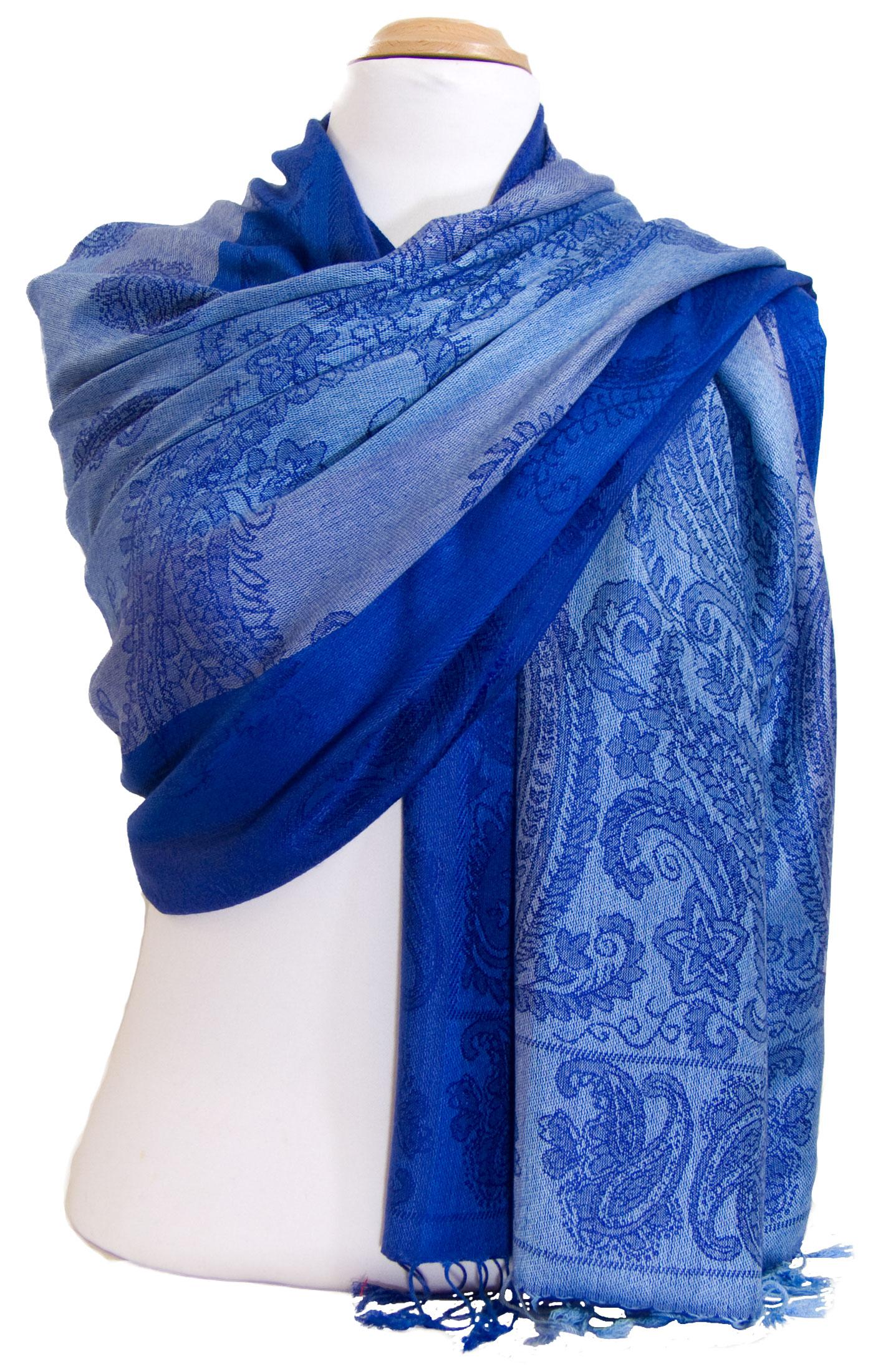 Etole pashmina bleu vif rayures motifs cachemire