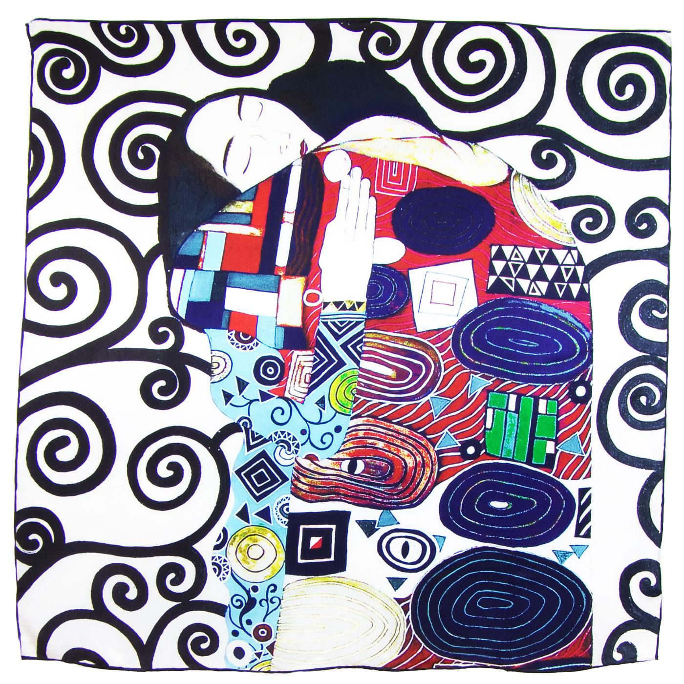 Carré de soie bleu L\'accomplissement Gustave Klimt artysilk