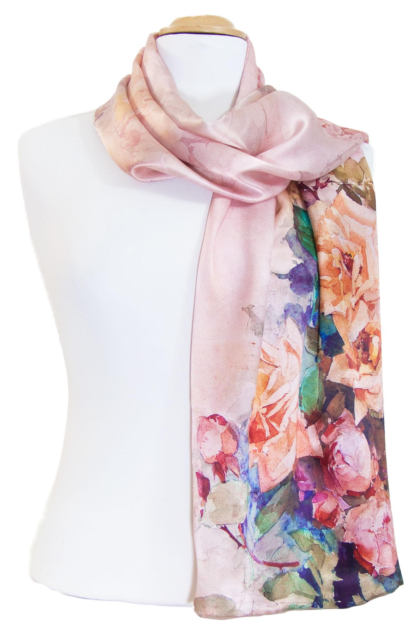 Foulard écharpe soie rose flovina