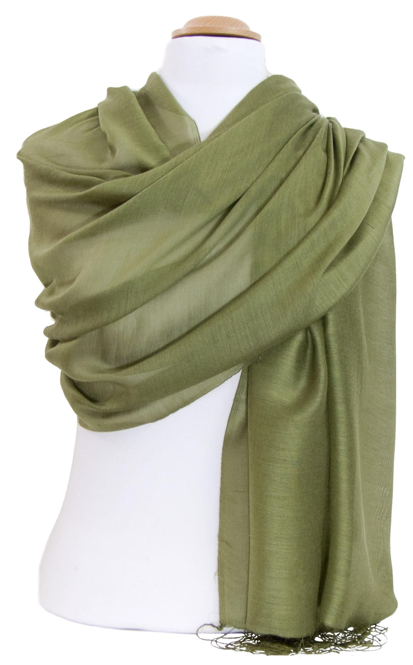 Etole foulard vert kaki soie viscose Alex