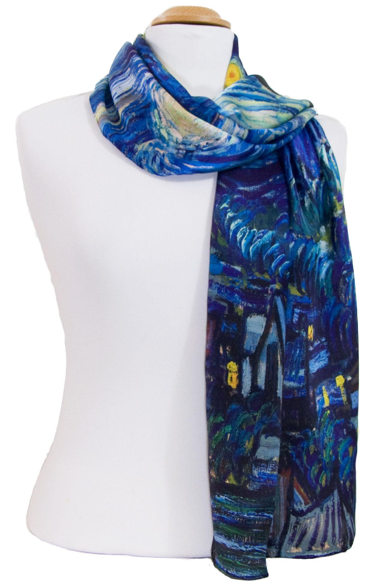 Foulard écharpe soie bleu marine Nocturne