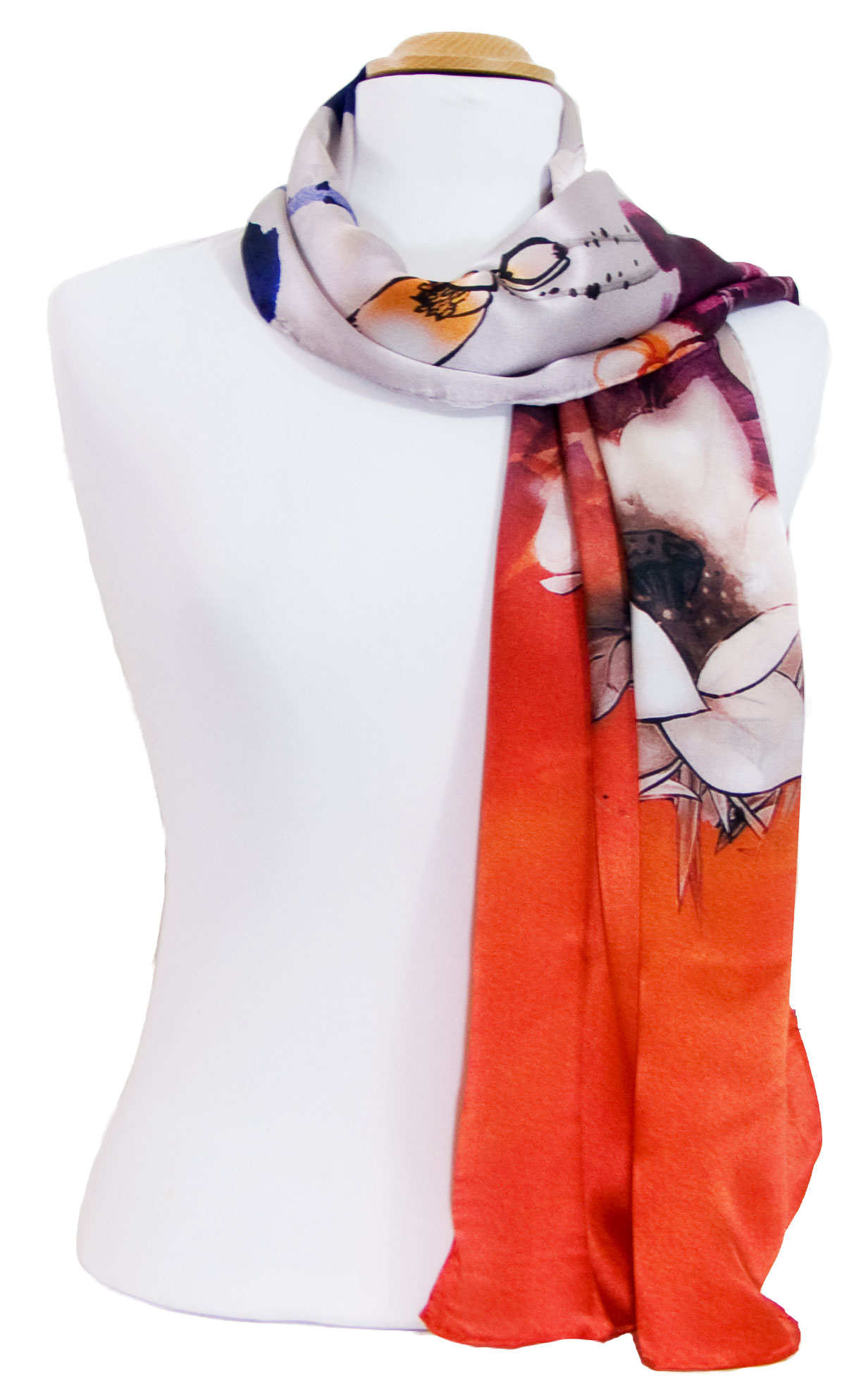 Foulard écharpe soie rouge lotus