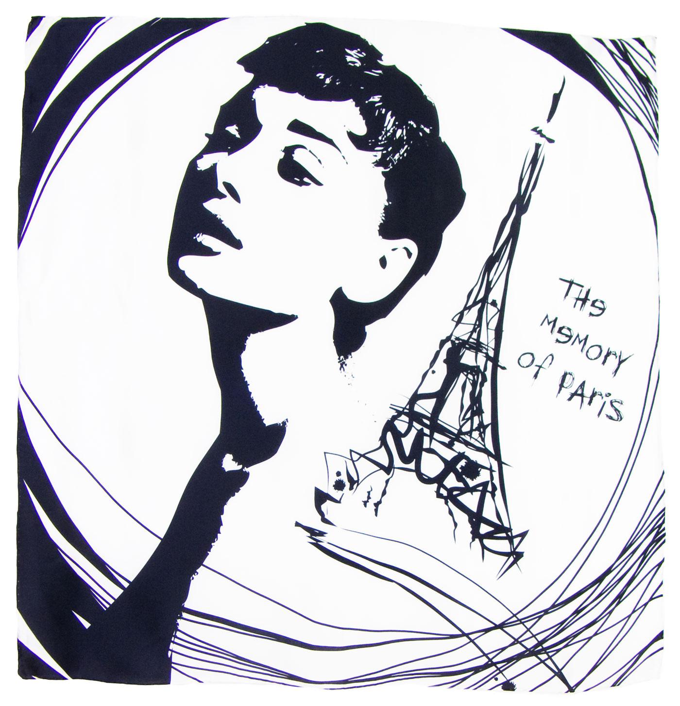 Carré de soie noir blanc Paris premium