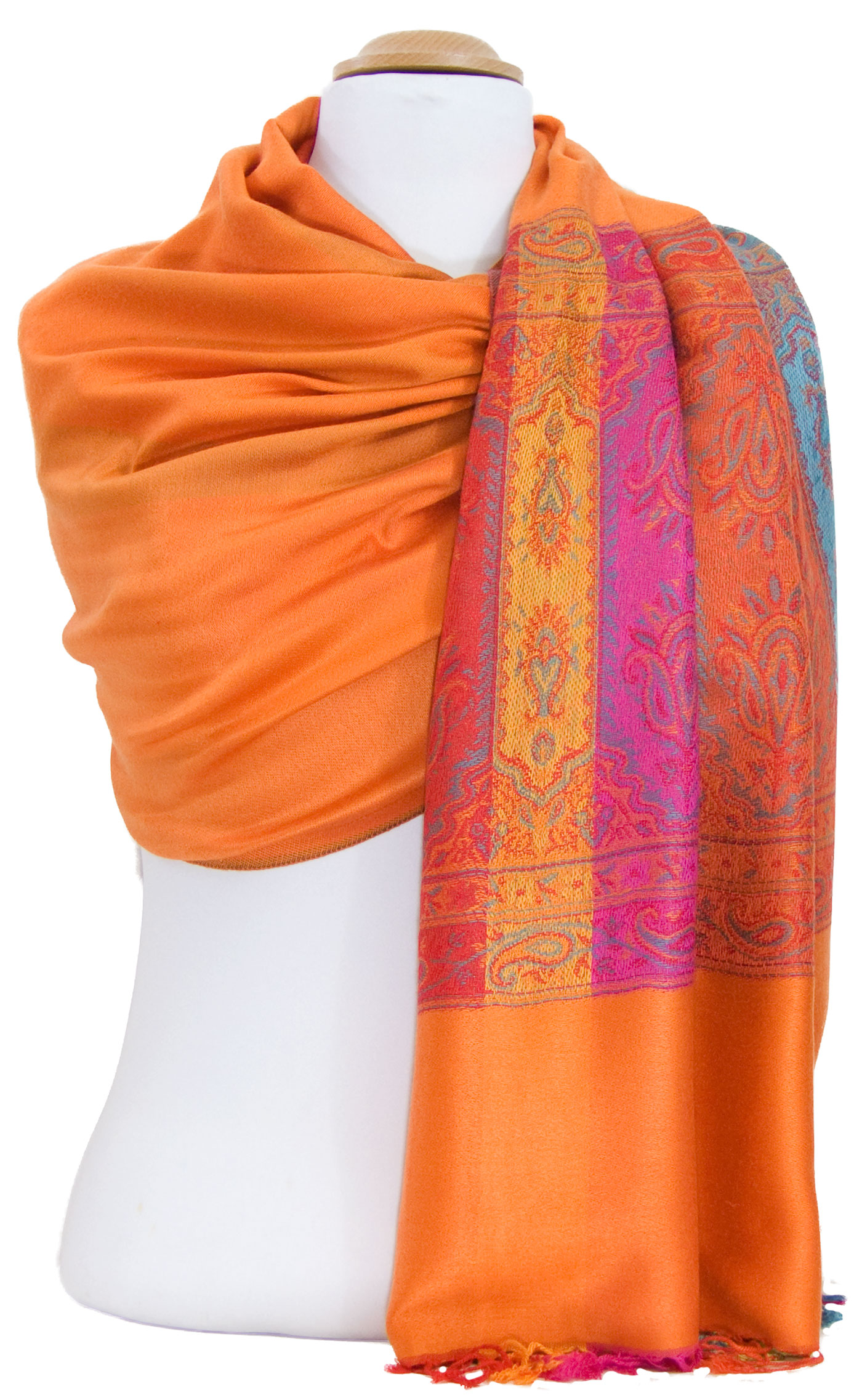 Etole pashmina orange tissage multicolore