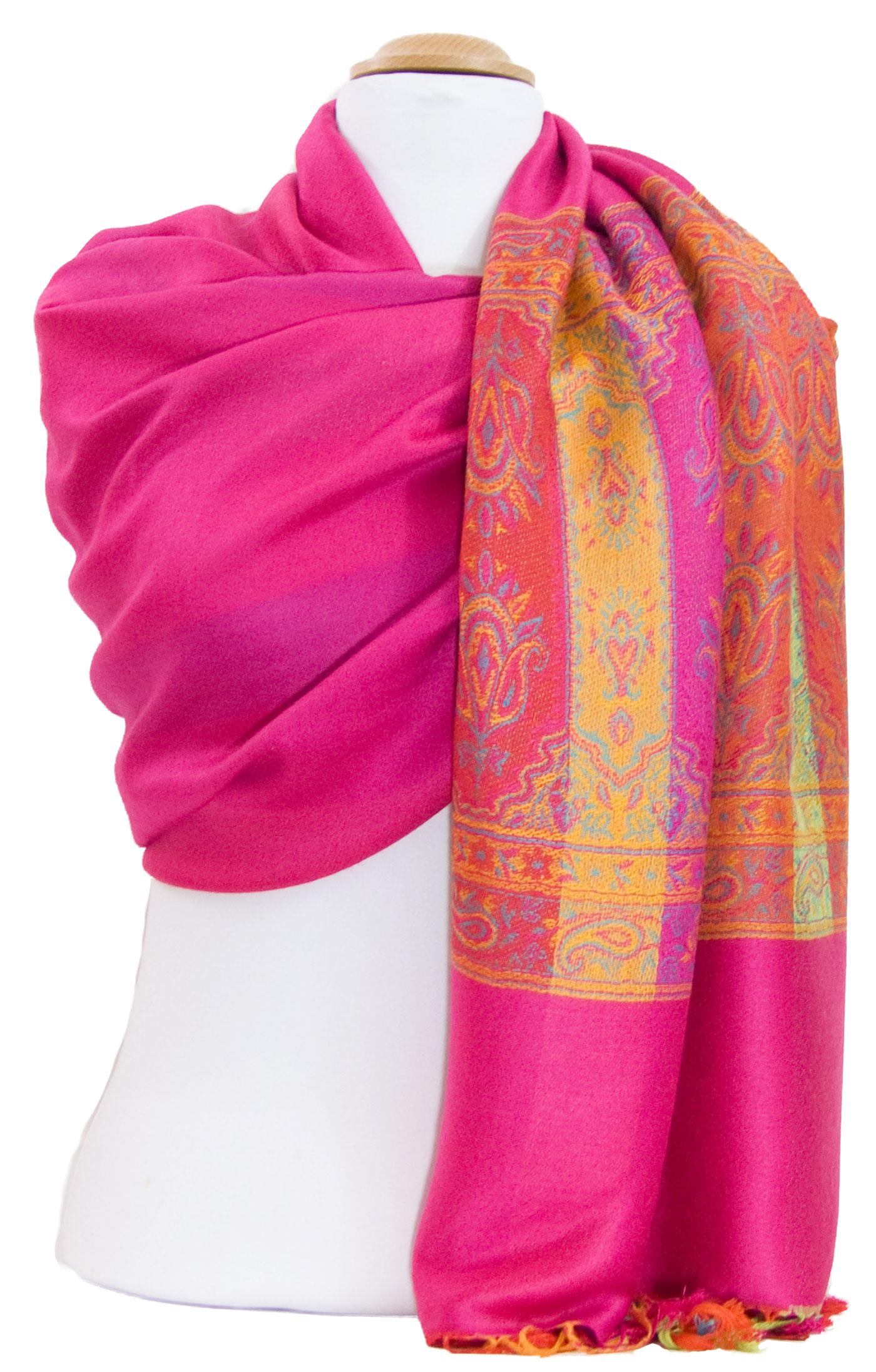 Etole pashmina rose fushia tissage multicolore
