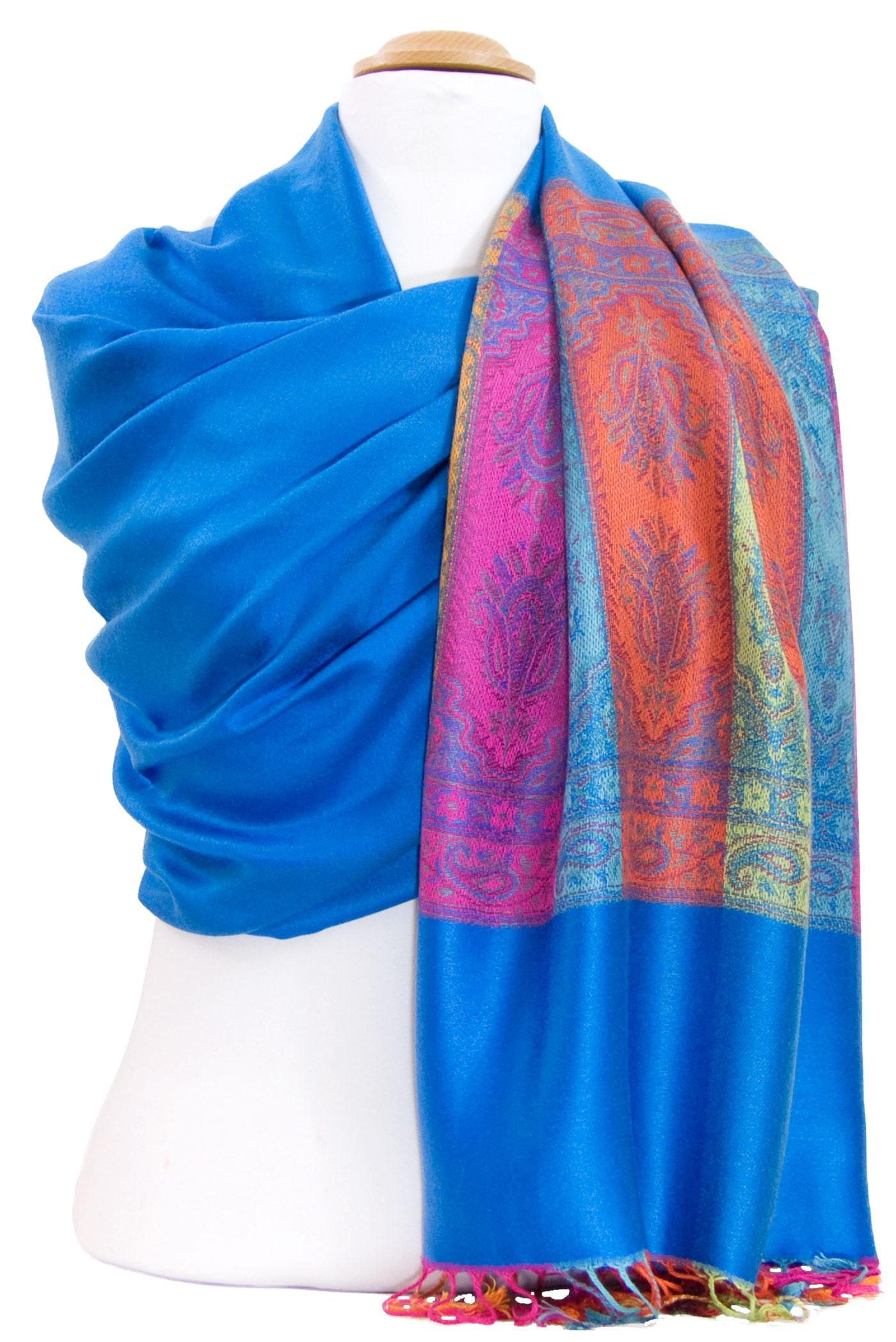 Etole pashmina bleu foncé tissage multicolores