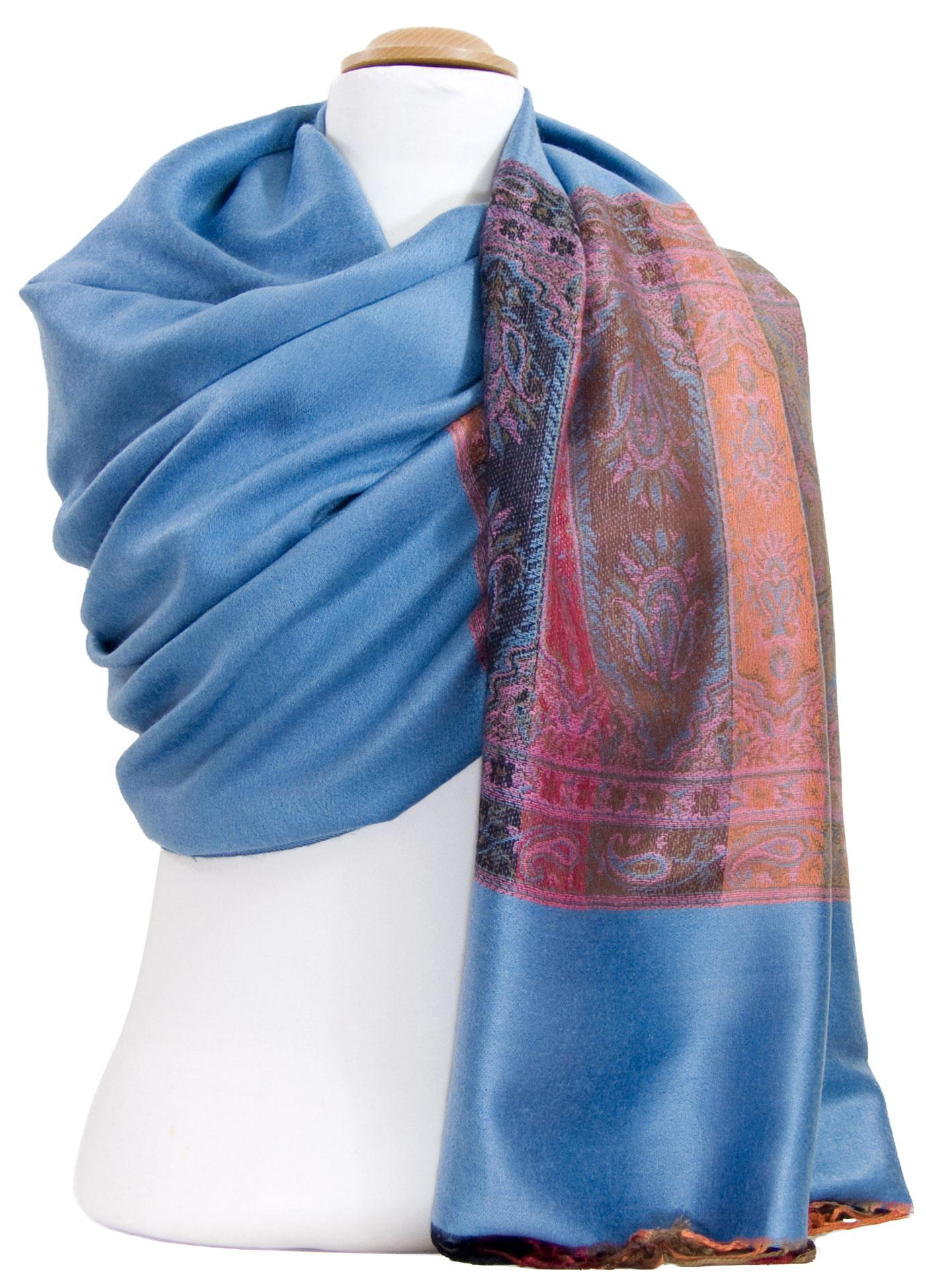 Etole pashmina bleu gris tissage multicolore